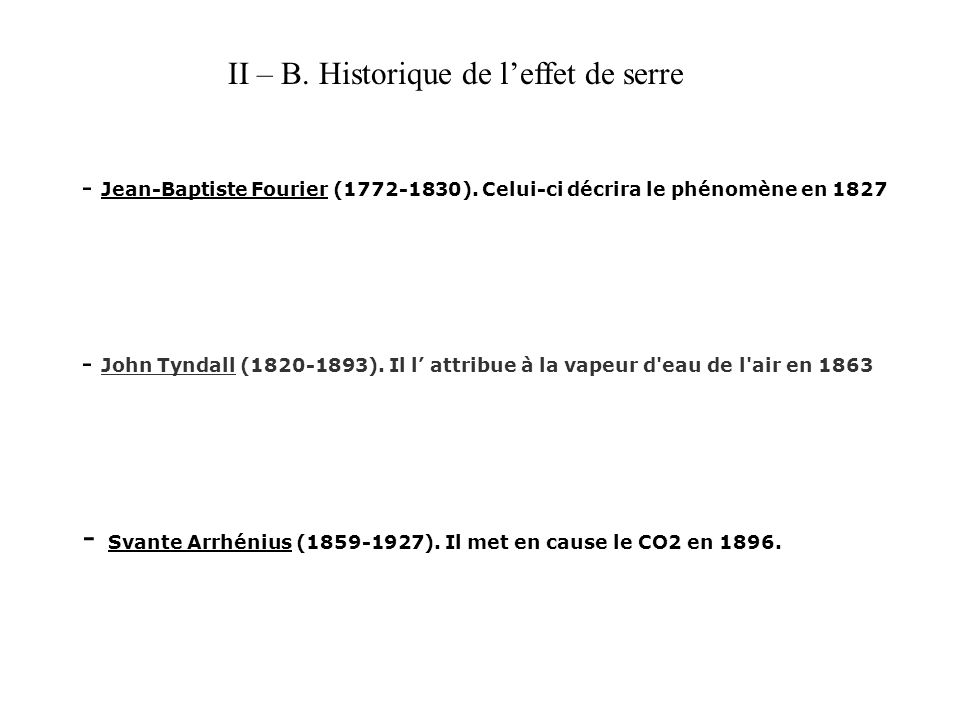 II – B. Historique de l'effet de serre