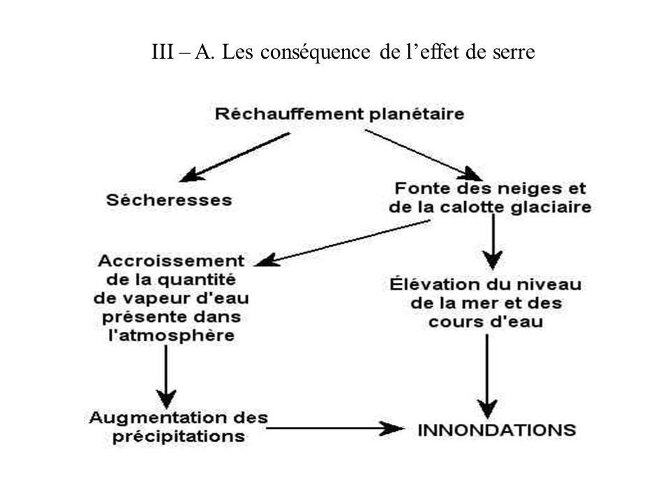 III – A. Les conséquence de l'effet de serre