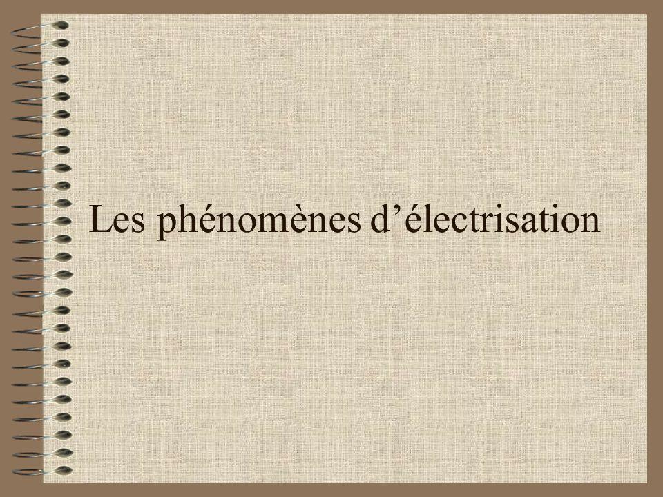 Les phénomènes d'électrisation