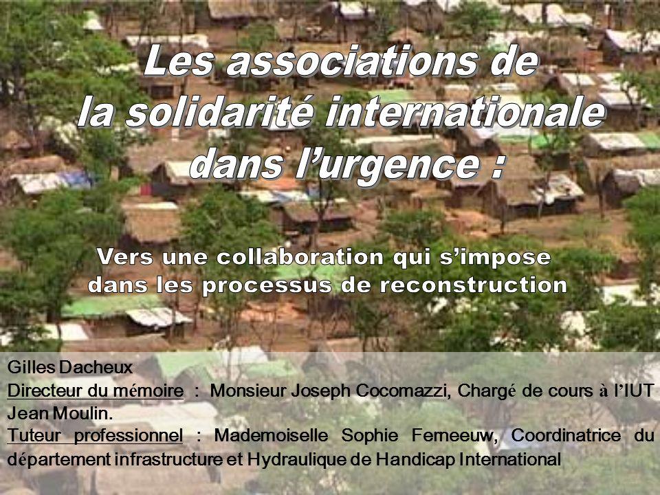 la solidarité internationale dans l'urgence :