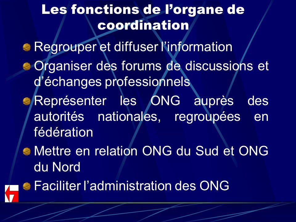Les fonctions de l'organe de coordination