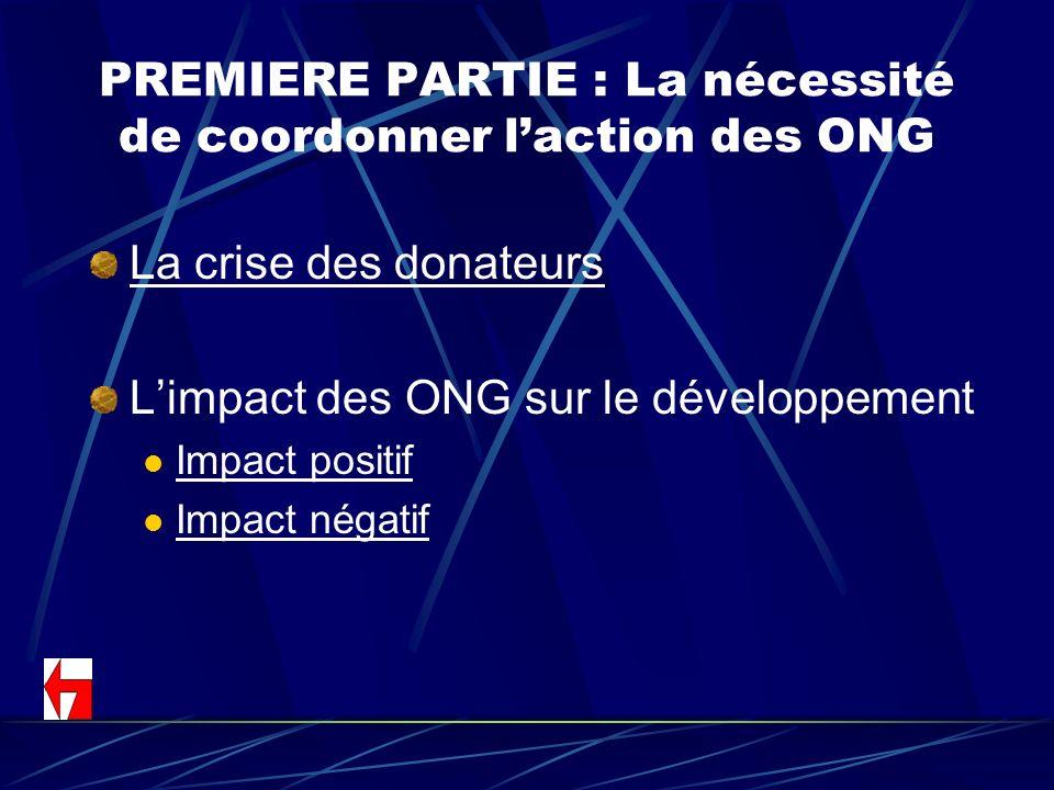 PREMIERE PARTIE : La nécessité de coordonner l'action des ONG