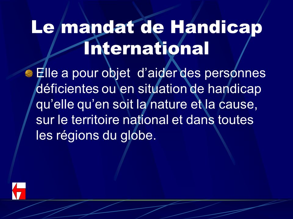 Le mandat de Handicap International
