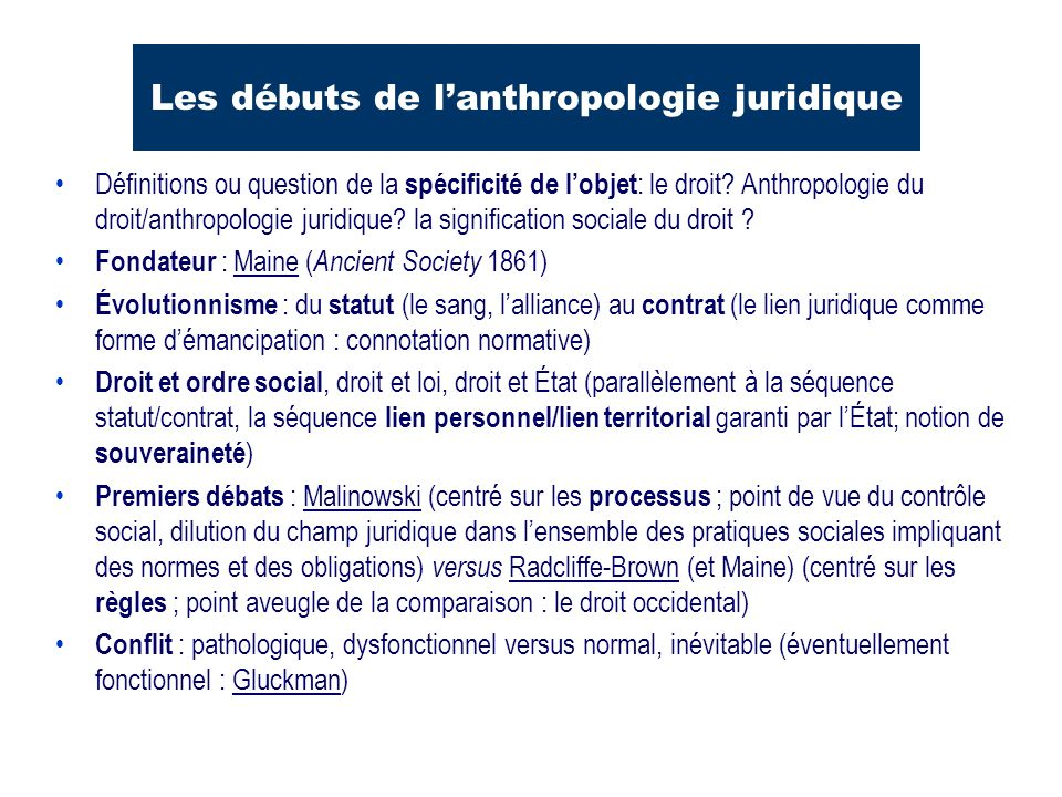 Les débuts de l'anthropologie juridique