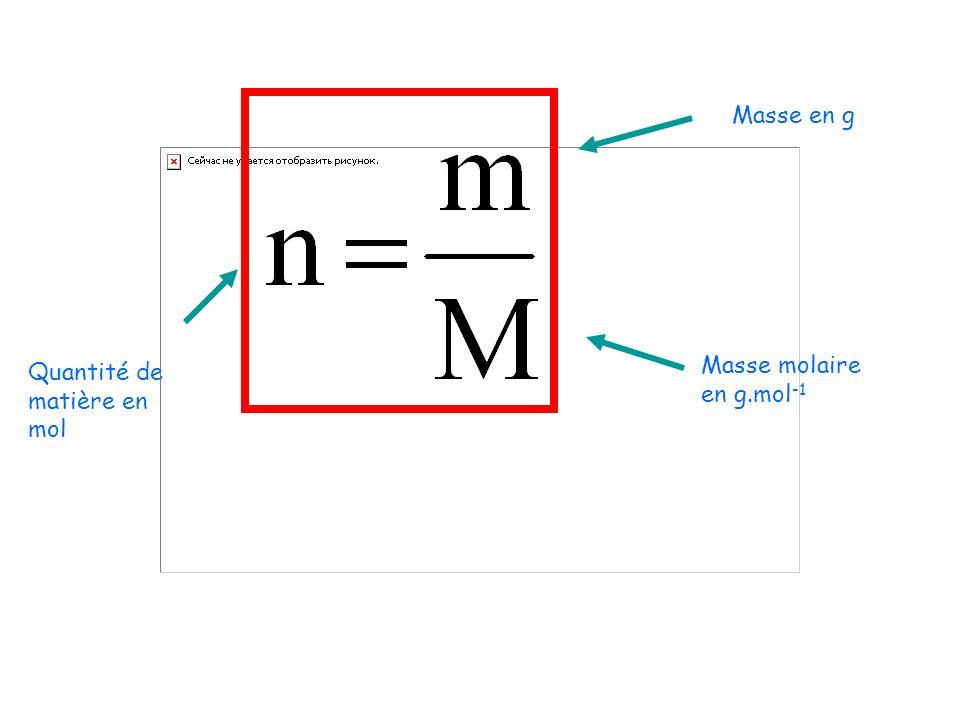 Masse en g Quantité de matière en mol Masse molaire en g.mol-1