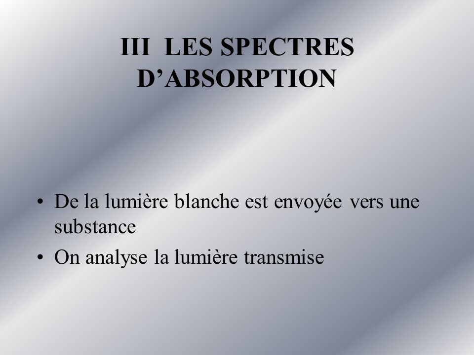 III LES SPECTRES D'ABSORPTION