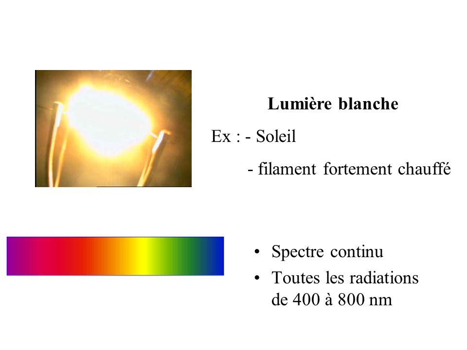 Lumière blanche Ex : - Soleil. - filament fortement chauffé.