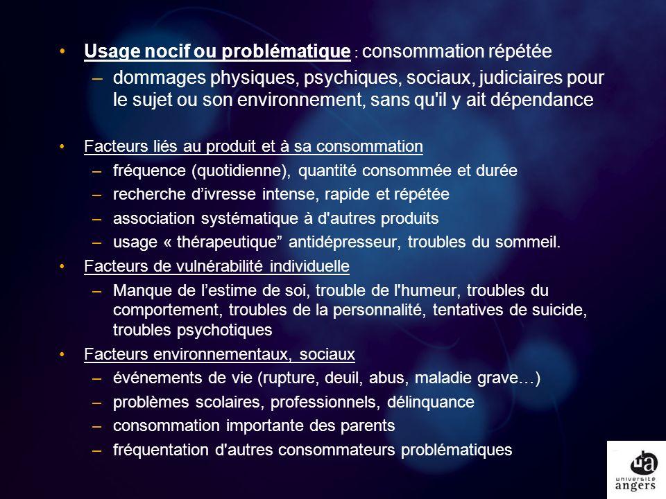 Usage nocif ou problématique : consommation répétée