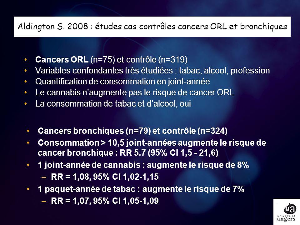 Aldington S. 2008 : études cas contrôles cancers ORL et bronchiques