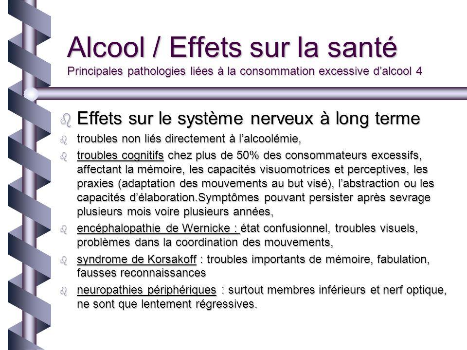 Alcool / Effets sur la santé Principales pathologies liées à la consommation excessive d'alcool 4