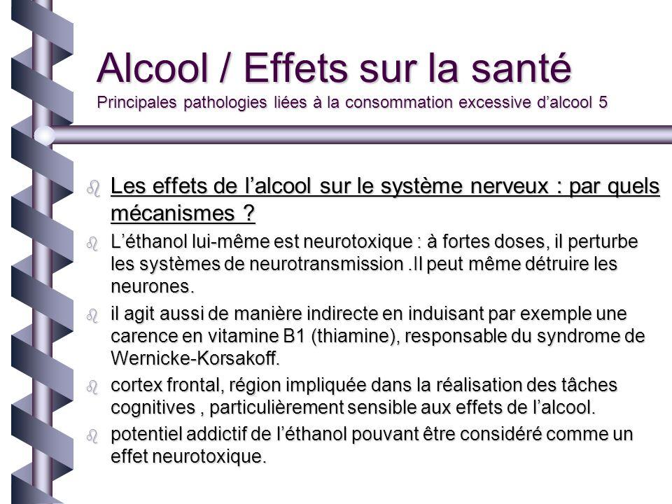 Alcool / Effets sur la santé Principales pathologies liées à la consommation excessive d'alcool 5
