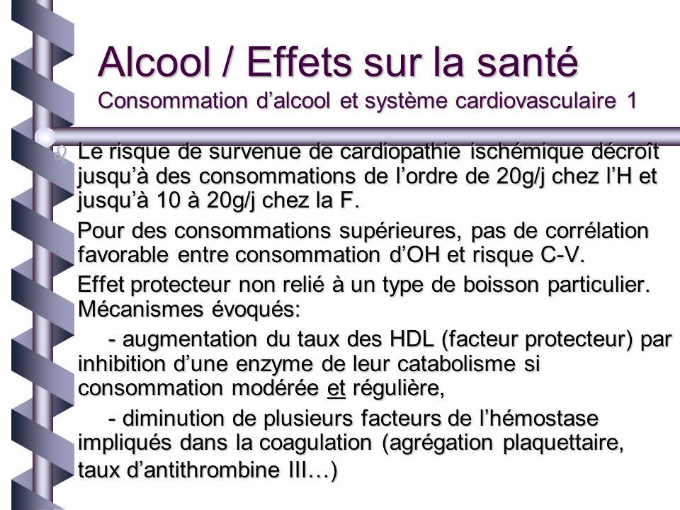 Alcool / Effets sur la santé Consommation d'alcool et système cardiovasculaire 1