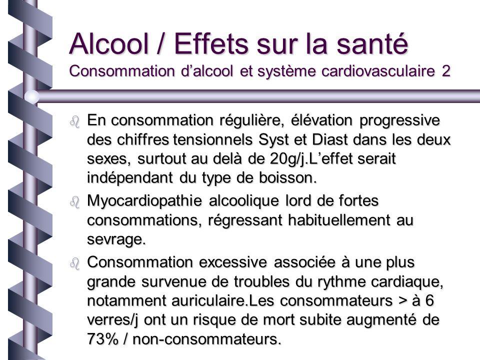 Alcool / Effets sur la santé Consommation d'alcool et système cardiovasculaire 2