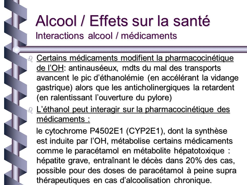 Alcool / Effets sur la santé Interactions alcool / médicaments