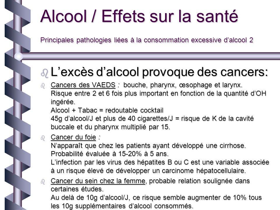 Alcool / Effets sur la santé Principales pathologies liées à la consommation excessive d'alcool 2