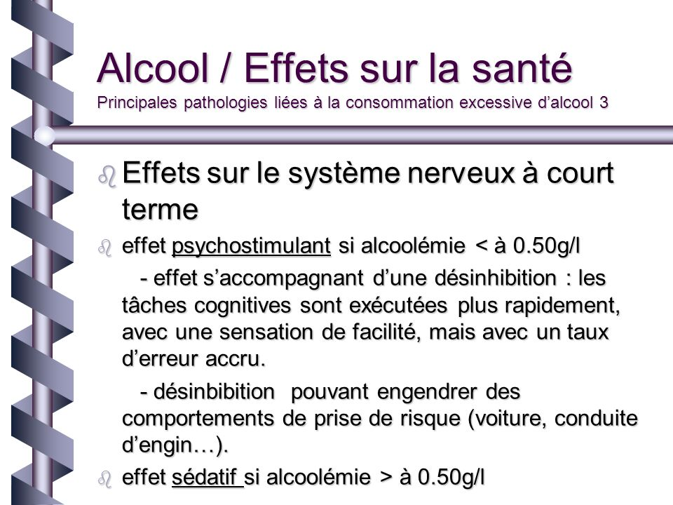Alcool / Effets sur la santé Principales pathologies liées à la consommation excessive d'alcool 3