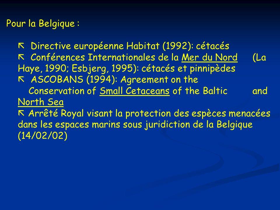 Pour la Belgique : Directive européenne Habitat (1992): cétacés.