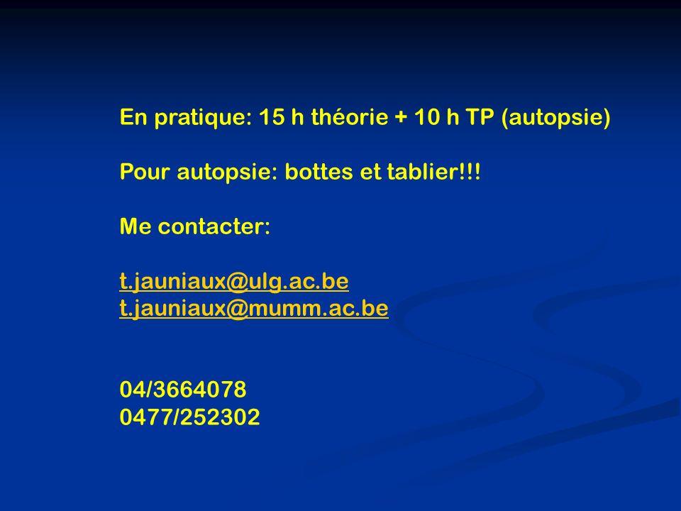 En pratique: 15 h théorie + 10 h TP (autopsie)