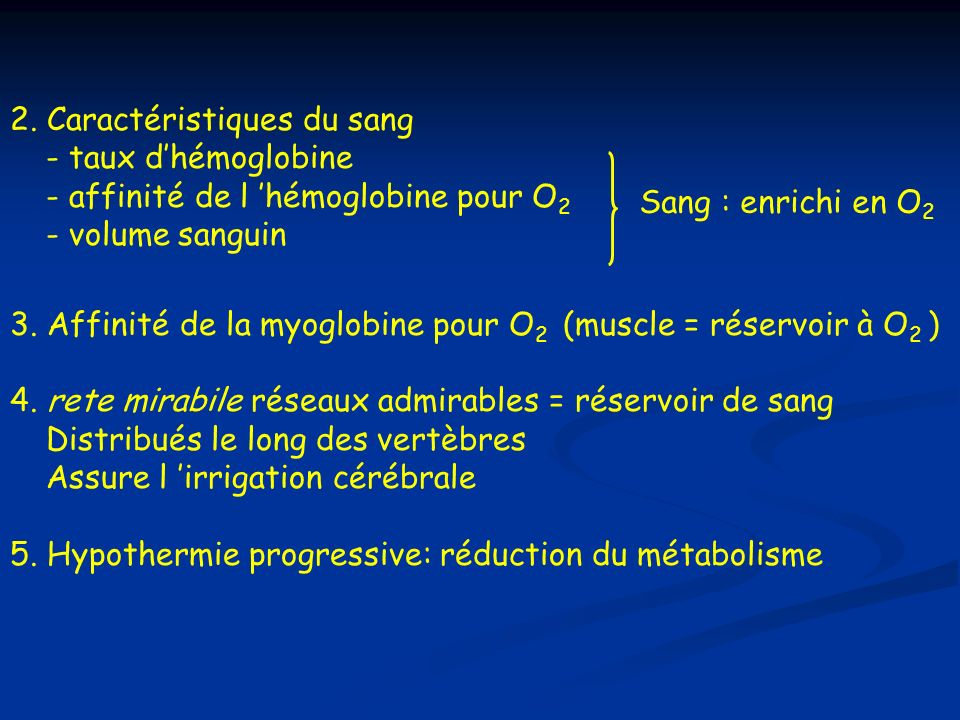 2. Caractéristiques du sang - taux d'hémoglobine