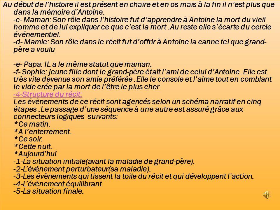 Au début de l'histoire il est présent en chaire et en os mais à la fin il n'est plus que dans la mémoire d'Antoine.