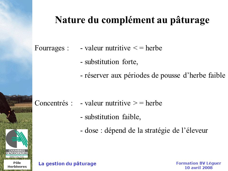 Nature du complément au pâturage Formation BV Léguer 10 avril 2008