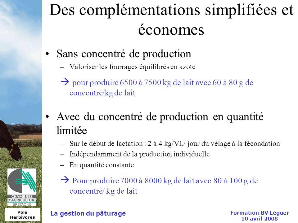 Des complémentations simplifiées et économes