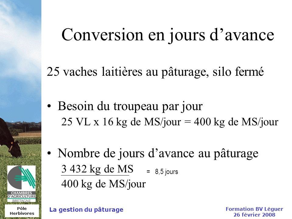Conversion en jours d'avance