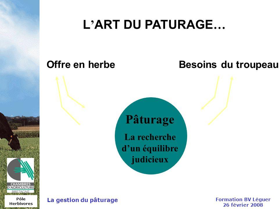 L'ART DU PATURAGE… Pâturage Offre en herbe Besoins du troupeau