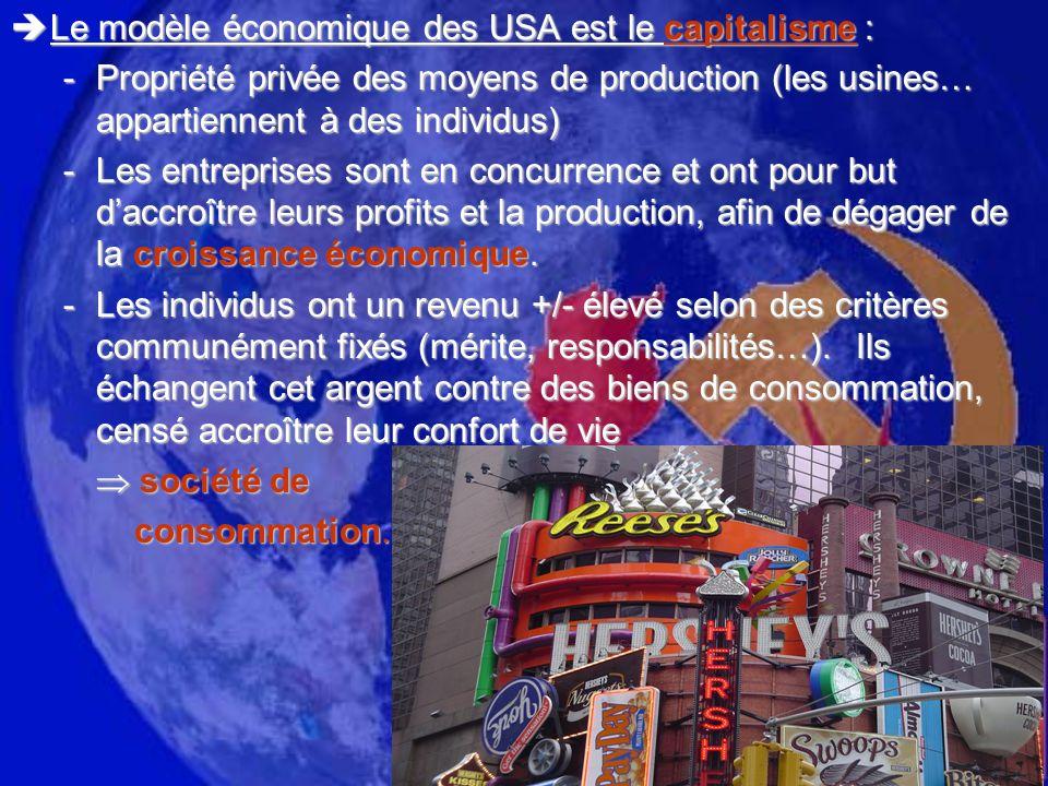 Le modèle économique des USA est le capitalisme :