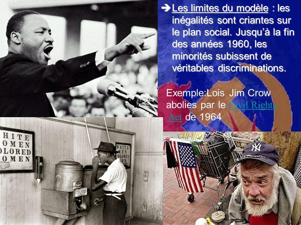 Les limites du modèle : les inégalités sont criantes sur le plan social. Jusqu'à la fin des années 1960, les minorités subissent de véritables discriminations.