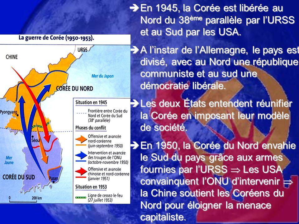 En 1945, la Corée est libérée au Nord du 38ème parallèle par l'URSS et au Sud par les USA.