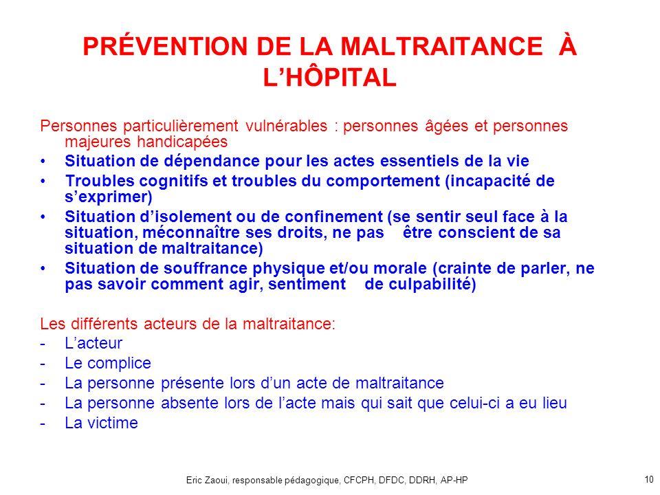 PRÉVENTION DE LA MALTRAITANCE À L'HÔPITAL