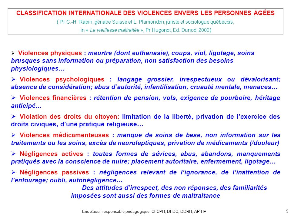 CLASSIFICATION INTERNATIONALE DES VIOLENCES ENVERS LES PERSONNES ÂGÉES