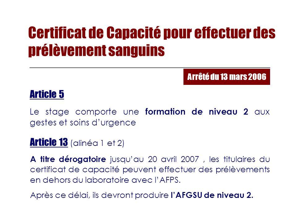 Certificat de Capacité pour effectuer des prélèvement sanguins