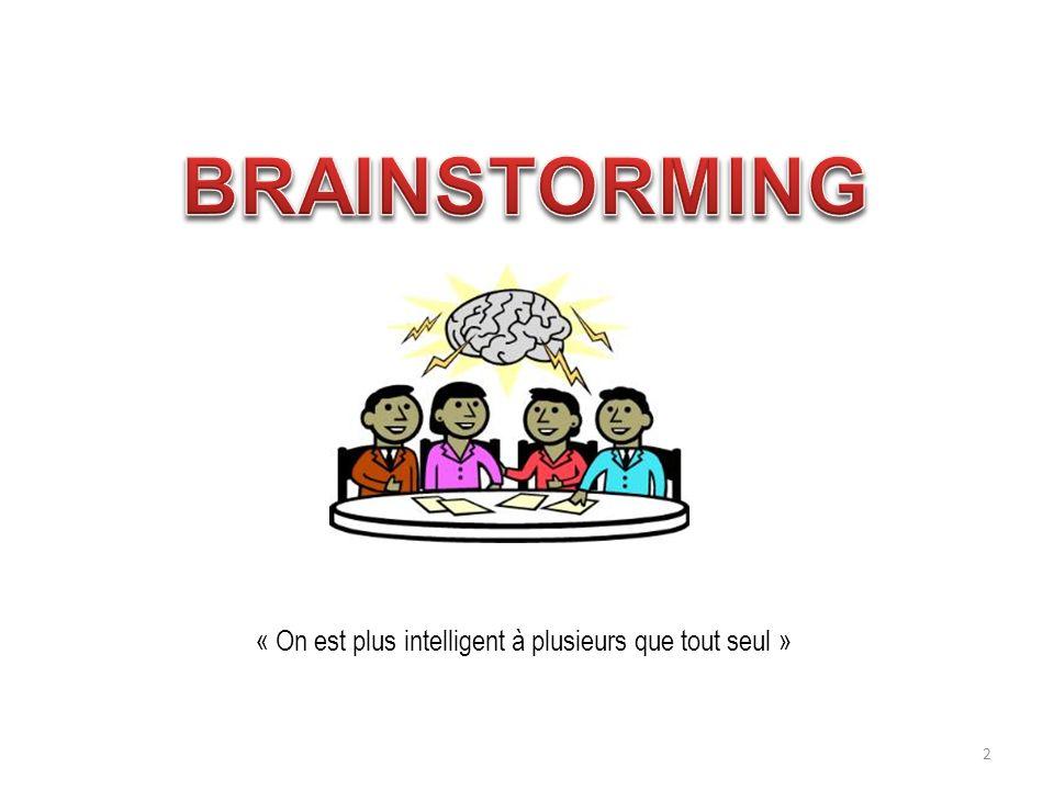 BRAINSTORMING « On est plus intelligent à plusieurs que tout seul »