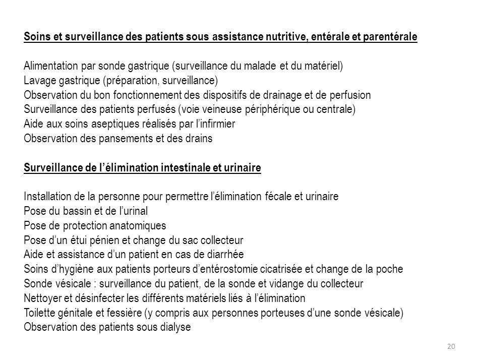 Soins et surveillance des patients sous assistance nutritive, entérale et parentérale