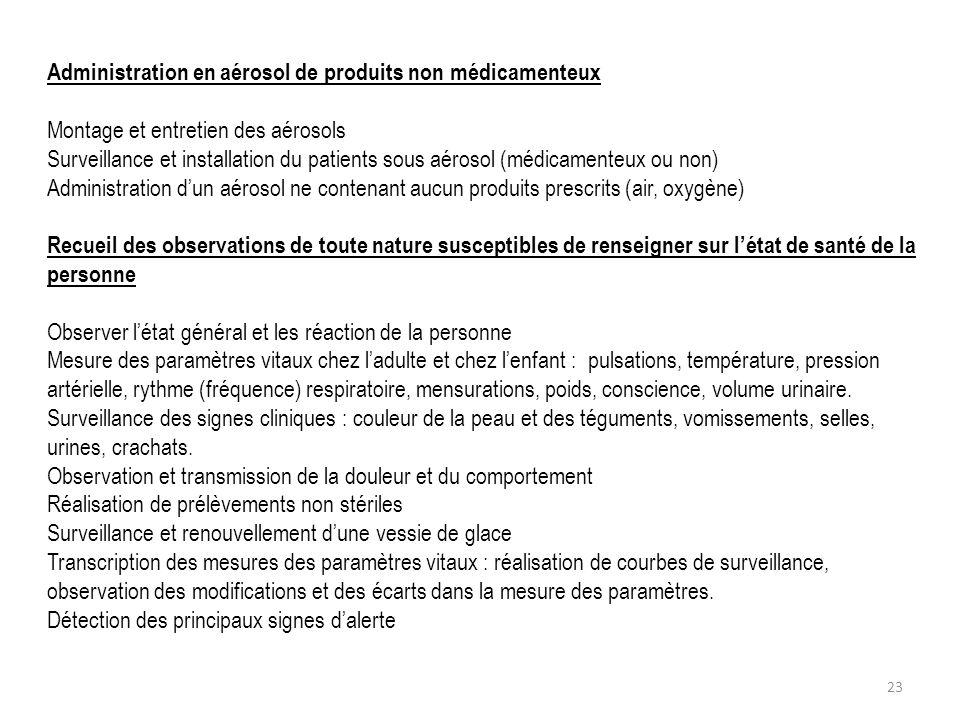 Administration en aérosol de produits non médicamenteux