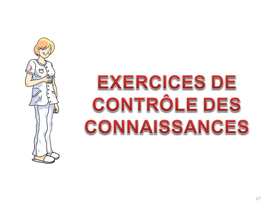 EXERCICES DE CONTRÔLE DES CONNAISSANCES