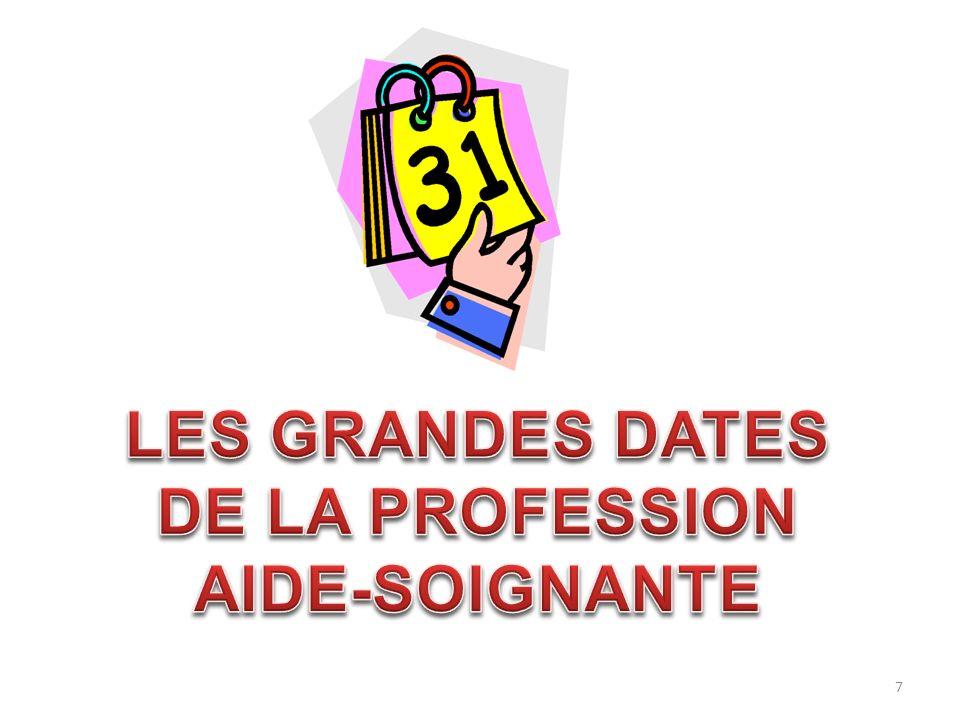 LES GRANDES DATES DE LA PROFESSION AIDE-SOIGNANTE