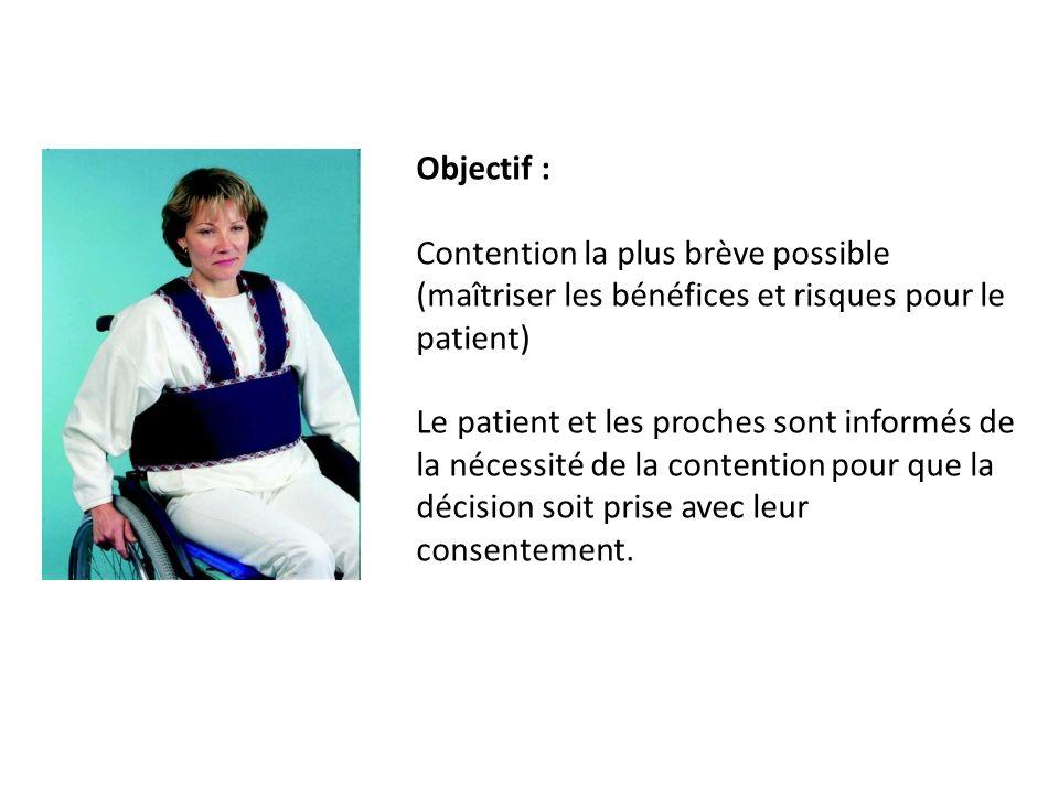 Objectif : Contention la plus brève possible (maîtriser les bénéfices et risques pour le patient)