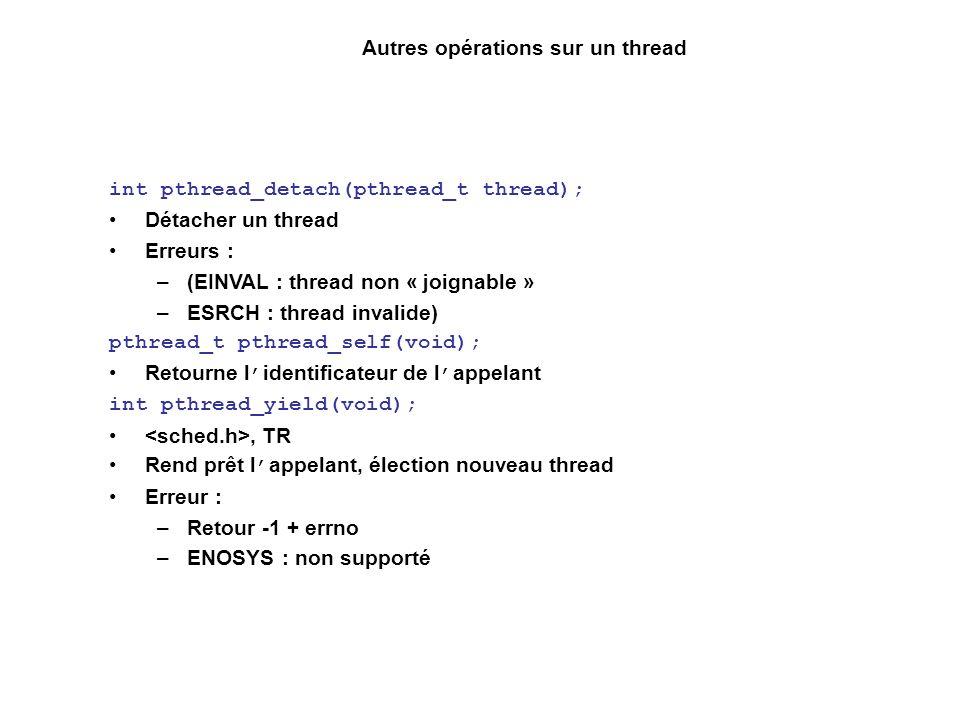 Autres opérations sur un thread