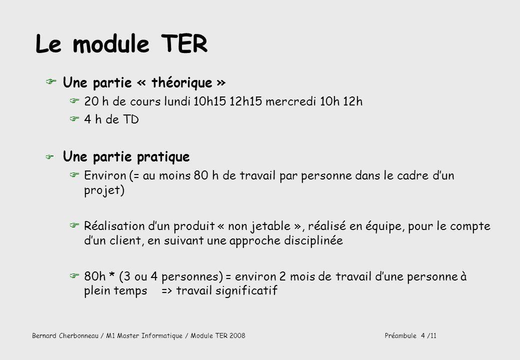 Le module TER Une partie « théorique » Une partie pratique