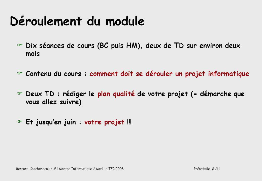 Déroulement du module Dix séances de cours (BC puis HM), deux de TD sur environ deux mois.