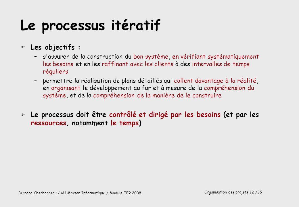 Le processus itératif Les objectifs :