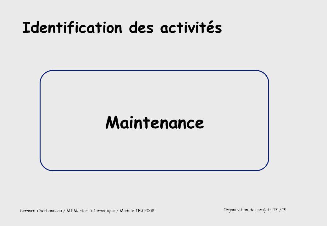 Identification des activités