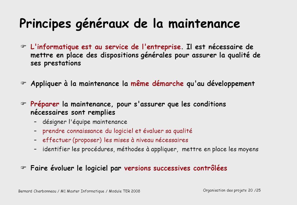 Principes généraux de la maintenance