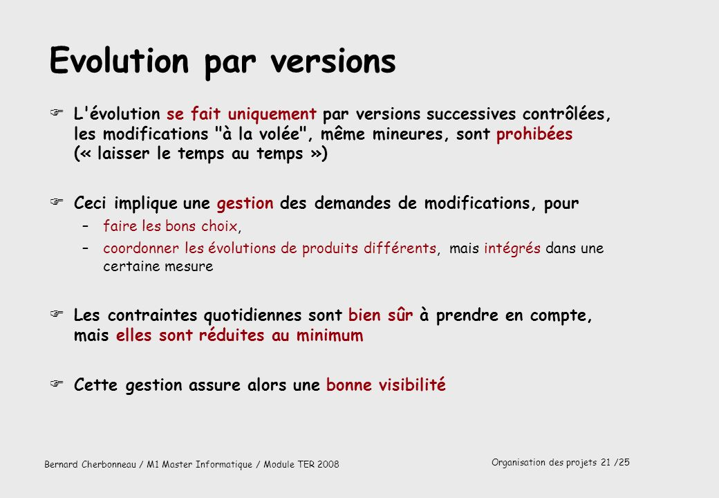 Evolution par versions