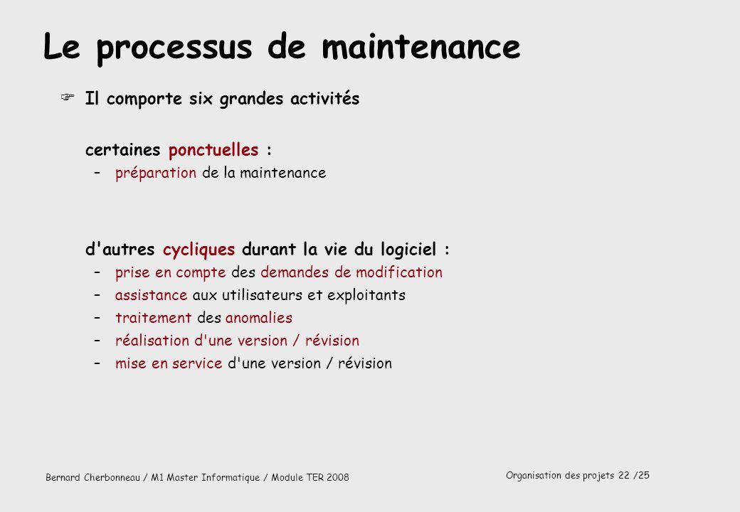 Le processus de maintenance