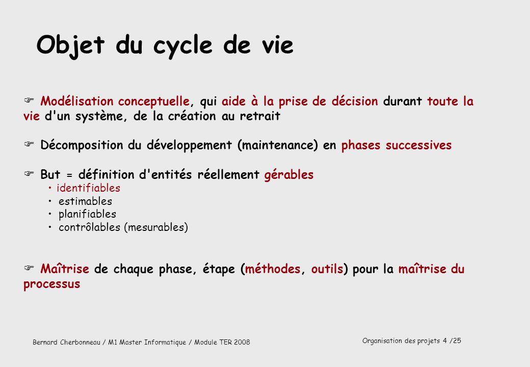 Objet du cycle de vie Modélisation conceptuelle, qui aide à la prise de décision durant toute la vie d un système, de la création au retrait.