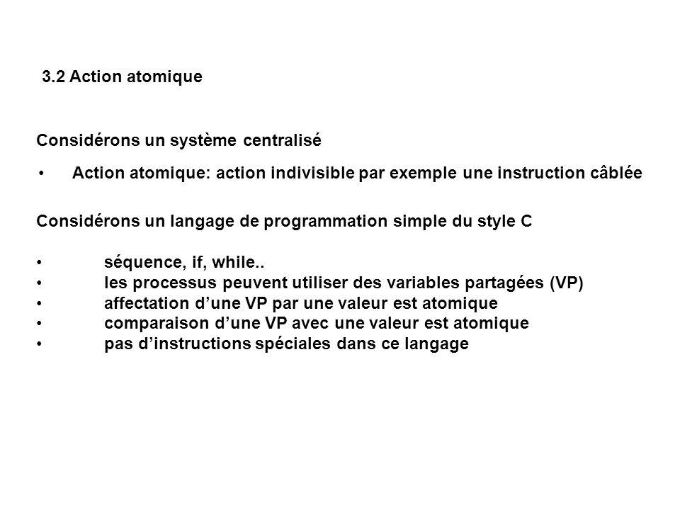 3.2 Action atomique Considérons un système centralisé. Action atomique: action indivisible par exemple une instruction câblée.